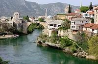 "Old bridge """"Stari Most"""" and Neretva river in Mostar, Bosnia and Herzegovina."