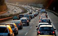 Traffic on Autobahn, Germany.