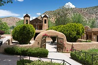 Chimayó, New Mexico: El Santuario de Chimayó. Famous for the story of its founding, the Roman Catholic church and shrine in a valley within the Sangre...