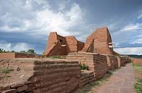 Pecos, New Mexico: The ruin of Mission Nuestra Señora de los Ã. ngeles de Porciúncula de los Pecos under renovation at Pecos National Historical Park.