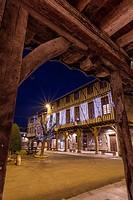 Arcaded market square in Mirepoix, Ariège 09, France, Europe.