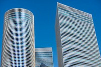 Azrieli Center Circular, Triangular and Square Towers in Tel Aviv city, Israel.