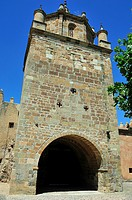 The Cistercian Veruela Abbey, XIIth century. The tower and the Main Gateway. Saragossa province, Spain