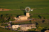 Aerial View of a Windmill of Mallorca, Balearic Island, Spain.