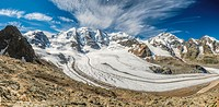 360 degree panorama view from the Diavolezza Mountain Station towards the Pers Glacier, Grisons, Switzerland.