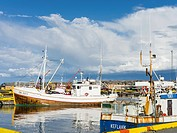 Harbour of Keflavik with fishing boats. europe, northern europe, iceland, august.