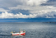 Fishing boats heading towards Keflavik harbour, a storm is developing over Reykjanes . europe, northern europe, iceland, august.