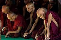 Myanmar, Bagan, Nat Taung kyaung monastery, Monks in medtiation