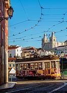 Portugal, Lisbon, Typical tram in Alfama.
