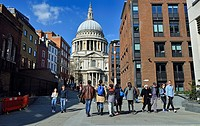 London, England, UK. People walking up towards St Paul's Cathedral from the Millennium Bridge.