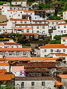 Portugal, Azores, Corvo, View of the Vila do Corvo.