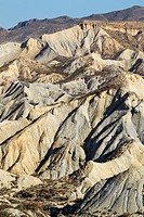 Bare ridges of eroded sandstone in the badlands of the Tabernas Desert, Europe's only true desert. Almeria province, Andalusia, Spain.
