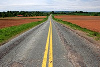 an old paved road in the Annapolis Valley in Nova Scotia Canada.