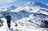 Mount Rainier National Park, Washington: Man hiking along Mount Fremont Lookout Trail near Sunrise.