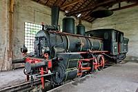steam locomotive in depot, Resavica, Serbia.