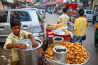 Outside stall with baked cookies in Delhi, India