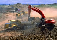 Heavy equipment working on a road construction