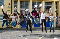 Aberystwyth Wales Uk, Thursday 13 August 2015. . Students at Penglais School Aberystwyth celebrate after collecting their A level results. . .