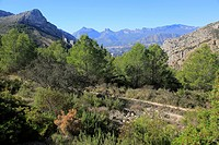 Mountain landscape near Xalo or Jalon, Marina Alta, Alicante province, Spain