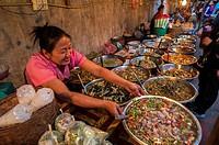 Selling fastfood at Luang Phrabang night market. Laos.