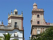 Cadiz (Spain). Architectural detail of the House of the four towers in the city of Cadiz.