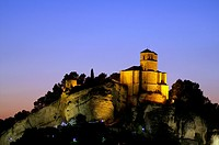 Montefrío (Granada) Spain. Night view of the Arab fortress of the fourteenth century in the village of Montefrío.