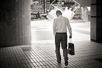 Businessman in Azca financial district, Madrid, Spain.
