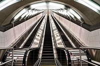Escalator Going Up from Middle Level to Street Level, at the 72nd Street Station on the New NYC Second Avenue Subway Line, Manhattan, NYC.