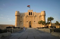 Front view of The Citadel of Qaitbay (Qaitbay Fort), Is a 15th century defensive fortress located on the Mediterranean sea coast, It was established i...