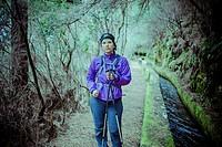 Girl hiker in La Palma, Canary Islands, Spain.