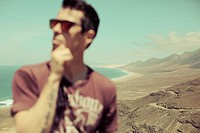 Man in Cofete, Fuerteventura, Canary Islands, Spain.