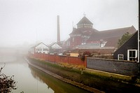 Harveys Brewery and The River Ouse On A Foggy Day, Lewes, Sussex, UK.