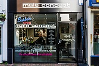 A Male Hairdressing Salon, High Street, Lewes, East Sussex, UK.