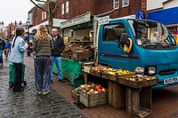 A Local Grower Sells Fruit and Vegeatbles From A Van In The High Street, Lewes, Sussex, UK.