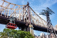 New York, New York City, NYC, East River, Roosevelt Island Tram, commuter aerial tramway, Ed Koch Queensboro Bridge, support tower,