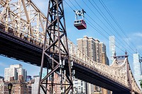 New York, New York City, NYC, East River, Roosevelt Island Tram, Manhattan skyline, commuter aerial tramway, Ed Koch Queensboro Bridge, support tower,...