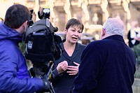 Caroline Lucas MP (Green: Brighton Pavilion) Co-leader of the Green Party of England and Wales, being interviewed after Theresa May's Brexit speech, 1...
