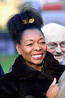 Floella Benjamin / Baroness Benjamin (LibDem), former children's TV presenter, at an event on College Green, Westminster welcoming newly-elected MP fo...