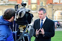 Peter Kyle MP (Labour: Hove) being interviewed on College Green, Westminster, after Theresa May's speech about Brexit negotiations, 17th Jan 2017.