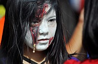 Chatan, Okinawa, Japan: Japanese girl at the American Village of Miyama during Halloween