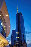 The modern district of Porta Nuova with Unicredit tower, Milan, Italy.