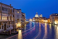 View of the Grand Canal and the Basilica of Santa Maria della Salute, from the Bridge of Academy, Venice, Italy.