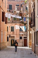 Laundry in Castello district, Venice, Italy.