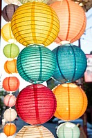 Vancouver, Canada: Rows of colorful paper lanterns along E Pender Street in Chinatown.
