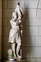 France, Indre-et-Loire (37), Loches, St-Ours church, collegiate Notre Dame, statue of Jeanne d'Arc.