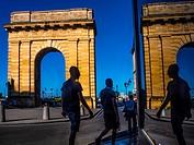 """France, Aquitaine, Gironde. """"""""Porte de Bourgogne"""""""" gate (1751-1755) at Bordeaux."""