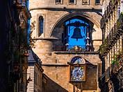 """France, Aquitaine, Gironde. """"""""Grosse Cloche"""""""" on """"""""Porte Saint Eloï"""""""" gate at Bordeaux. Pilgrimage way to Santiago de Compostela."""