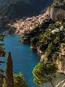 Amalfi Coast looking toward Positano, Campania, Italy.