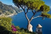 View over Gulf of Salerno from Villa Rufolo, Ravello, Campania, Italy.