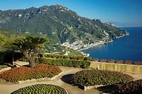 Flower garden of Villa Rufolo over looking the Amalfi Coast and the Gulf of Salerno, Ravello, Campania, Italy.